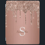 """Rose Gold Glitter Sparkle Drip Monogram Name iPad Smart Cover<br><div class=""""desc"""">Enjoy this elegant design featuring your name and monogram or initial with chic and sparkly rose gold copper glitter drips over a rose gold foil background.</div>"""