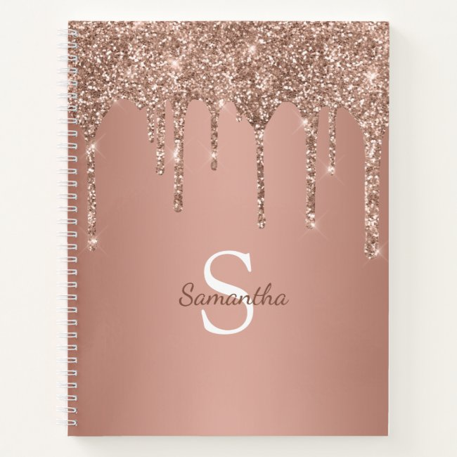 Rose Gold Glitter Sparkle Drip Monogram Name Notebook