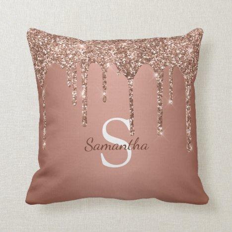Rose Gold Glitter Sparkle Drip Monogram Name Throw Pillow