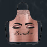 "Rose Gold Glitter Sparkle Eyelashes Monogram Name Apron<br><div class=""desc"">Rose Gold Faux Foil Metallic Sparkle Glitter Brushed Metal Monogram Name and Initial Eyelashes (Lashes),  Eyelash Extensions and Eyes Blush Pink Cooking Apron. This makes the perfect sweet 16 birthday,  wedding,  bridal shower,  anniversary,  baby shower or bachelorette party gift for someone decorating her room in trendy cool style.</div>"