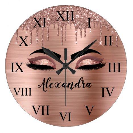 Rose Gold Glitter Sparkle Eyelashes Monogram Name Large Clock