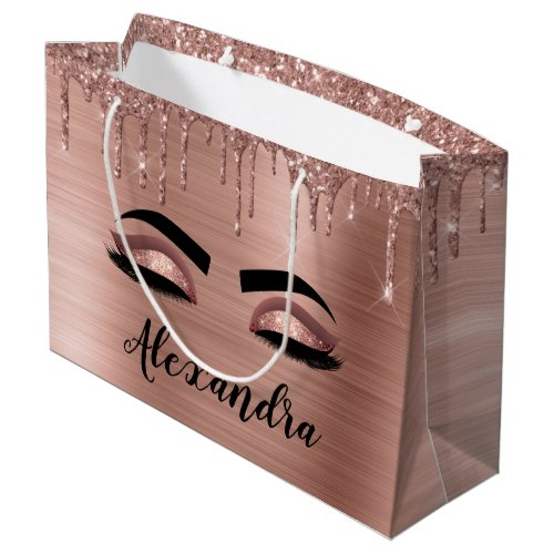 Rose Gold Glitter Sparkle Eyelashes Monogram Name Large Gift Bag