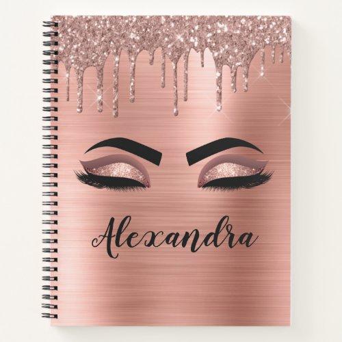 Rose Gold Glitter Sparkle Eyelashes Monogram Name Notebook