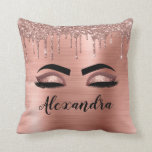 """Rose Gold Glitter Sparkle Eyelashes Monogram Name Throw Pillow<br><div class=""""desc"""">Rose Gold Faux Foil Metallic Sparkle Glitter Brushed Metal Monogram Name and Initial Eyelashes (Lashes),  Eyelash Extensions and Eyes Blush Pink Makeup Pillow. The pillow makes the perfect sweet 16 birthday,  wedding,  bridal shower,  anniversary,  baby shower or bachelorette party gift for someone decorating her room in trendy cool style.</div>"""