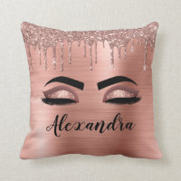 Rose Gold Glitter Sparkle Eyelashes Monogram Name Throw Pillow
