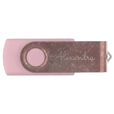 Beach Themed Rose Gold Glitter Sparkle Monogram USB Thumb Drive