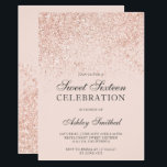 "Rose gold glitter sparkles blush sweet sixteen invitation<br><div class=""desc"">A modern,  pretty chic and elegant rose gold glitter shower ombre with pastel blush pink color block Sweet 16 birthday party invitation .</div>"