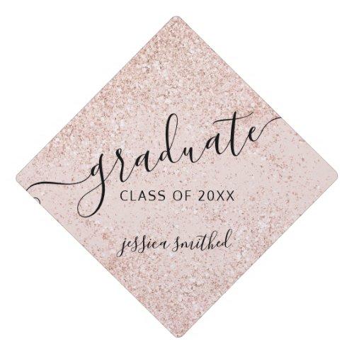 Rose gold glitter sparkles typography graduate graduation cap topper