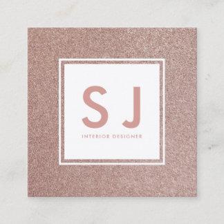Rose Gold Glitter Sparkly Modern Interior Designer Square Business Card