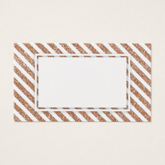 Rose Gold Glitter Stripes Blank Business Card