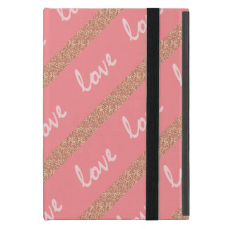 rose gold glitter stripes love typography pattern case for iPad mini