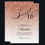 """Rose Gold Glitter Sweet 16 Fancy Script Invitation<br><div class=""""desc"""">This beautiful invitation features faux rose gold glitter and your custom text.  Use the template form the add your information.  Change the font or add more text using the Customize It feature.</div>"""