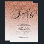 "Rose Gold Glitter Sweet 16 Fancy Script Invitation<br><div class=""desc"">This beautiful invitation features faux rose gold glitter and your custom text.  Use the template form the add your information.  Change the font or add more text using the Customize It feature.</div>"