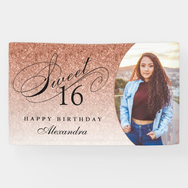 Rose Gold Glitter Sweet 16 Personalized Photo Banner