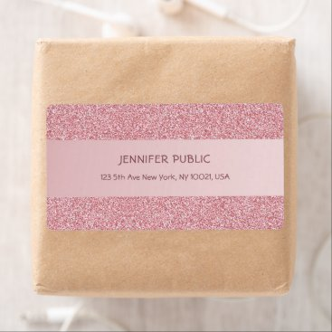 Rose Gold Glitter Template Sophisticated Shipping Label