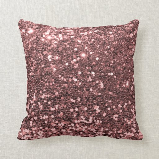 Rose Gold Glitter Throw Pillow Zazzle