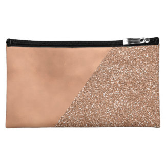 Rose Gold Glitter Trendy Modern Cosmetic Bag
