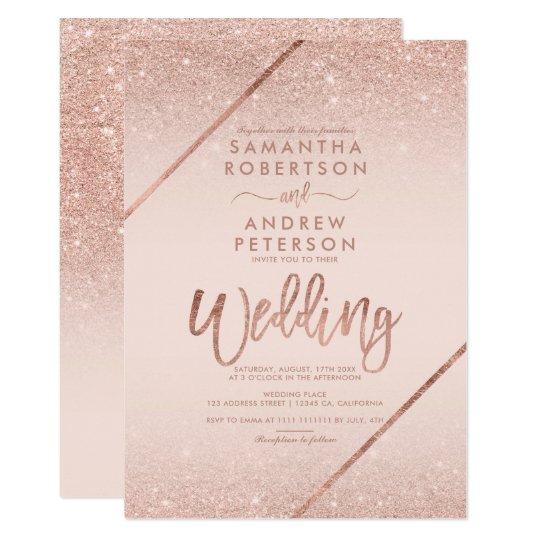 Rose Gold Glitter Typography Blush Pink Wedding Invitation