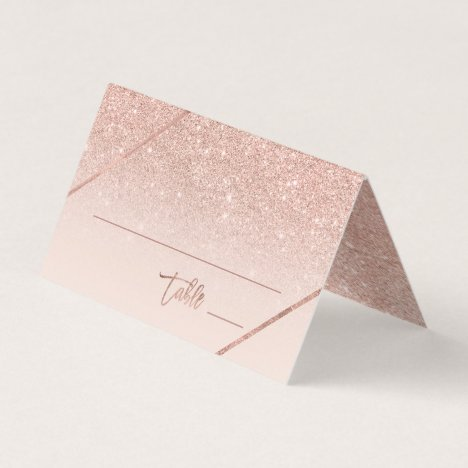 Rose gold glitter typography blush pink wedding place card