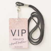 Rose gold glitter typography blush Sweet 16 VIP Badge