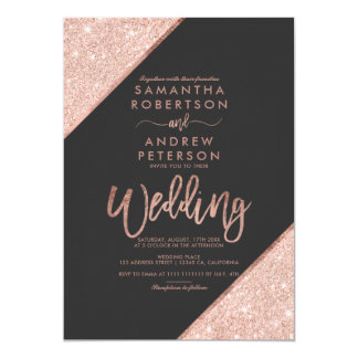 Rose gold glitter typography dark grey wedding invitation
