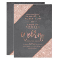 Rose gold glitter typography grey cement wedding invitation