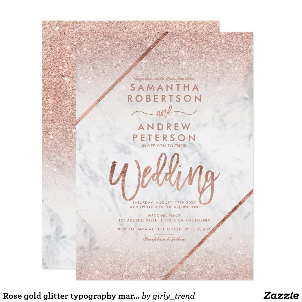 Rose gold glitter typography marble wedding invitation