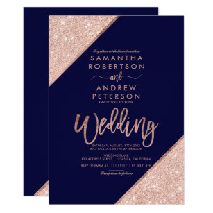 Rose Gold Glitter Typography Navy Blue Wedding Invitation