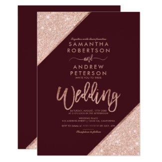 Rose gold glitter typography red burgundy wedding invitation