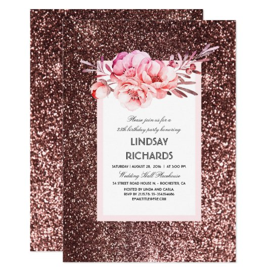 Rose Gold Glitter Vintage Floral Birthday Party Invitation