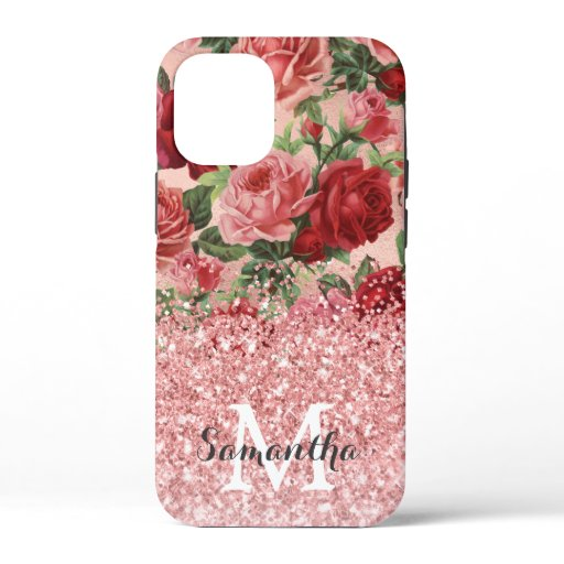 Rose Gold Glitter Vintage Pink Red Rose Floral iPhone 12 Mini Case