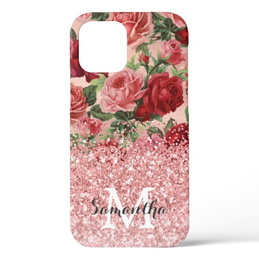 Rose Gold Glitter Vintage Pink Red Rose Floral iPhone 12 Case