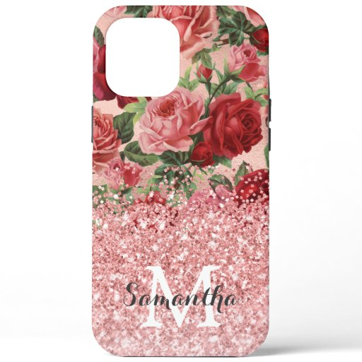 Rose Gold Glitter Vintage Pink Red Rose Floral iPhone 12 Pro Max Case