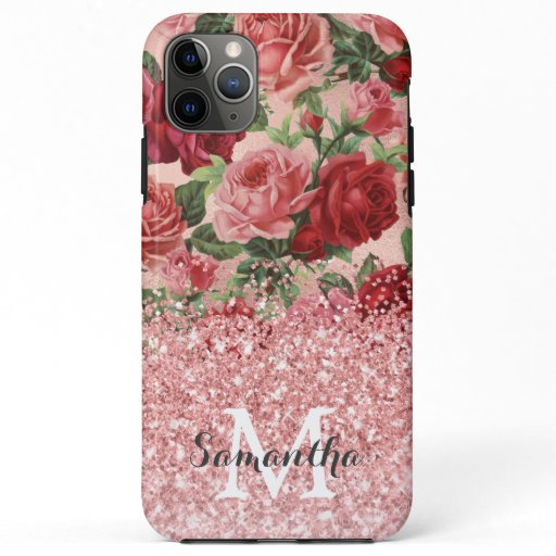 Rose Gold Glitter Vintage Pink Red Rose Floral iPhone 11 Pro Max Case
