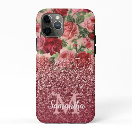 Rose Gold Glitter Vintage Red Pink Rose Floral iPhone 11 Pro Case