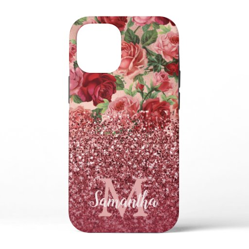 Rose Gold Glitter Vintage Red Pink Rose Floral iPhone 12 Mini Case