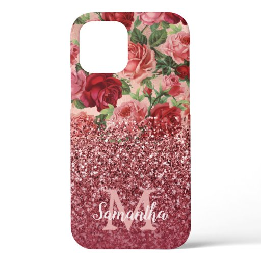 Rose Gold Glitter Vintage Red Pink Rose Floral iPhone 12 Case