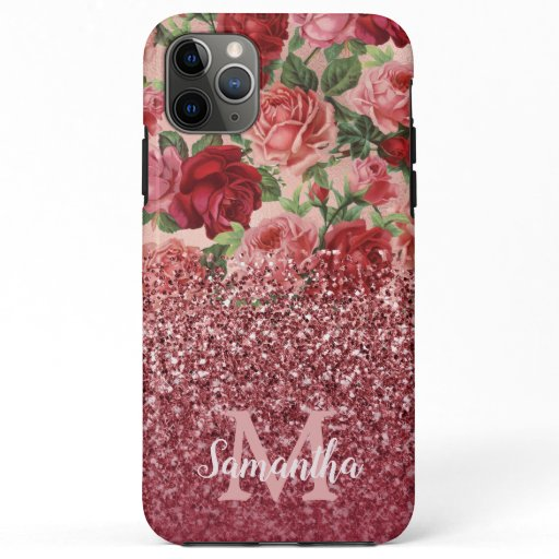 Rose Gold Glitter Vintage Red Pink Rose Floral iPhone 11 Pro Max Case