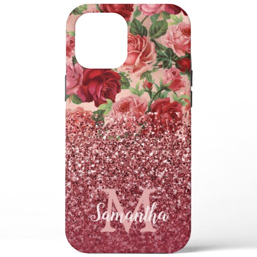 Rose Gold Glitter Vintage Red Pink Rose Floral iPhone 12 Pro Max Case