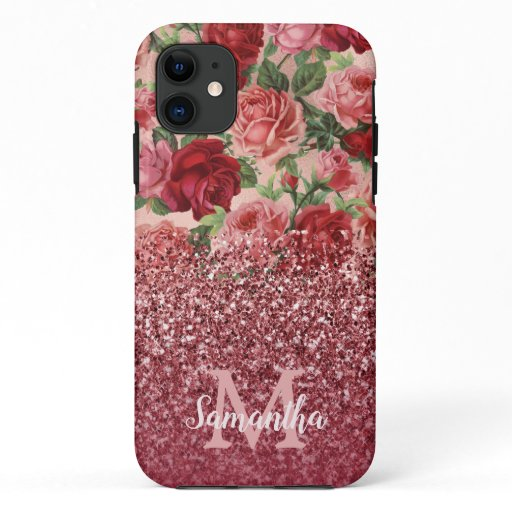 Rose Gold Glitter Vintage Red Pink Rose Floral iPhone 11 Case