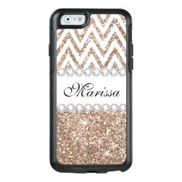 Rose Gold Glitter White Chevron iPhone 6 Case