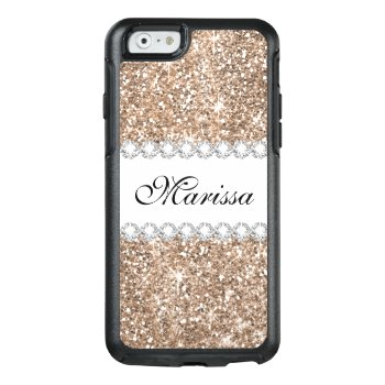Rose Gold Glitter White Otterbox Iphone 6/6s Case by girlygirlgraphics at Zazzle