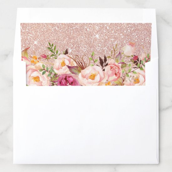 Rose Gold Glitters Blush Pink Floral Envelope Liner