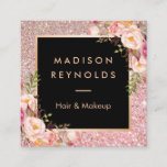 """Rose Gold Glitters Pink Floral Beauty Salon Square Business Card<br><div class=""""desc"""">Make a great impression with this stylish &quot;Rose Gold Glitters Pink Floral Beauty Salon Square Business Card&quot; template. Create yours today! (1) For further customization, please click the &quot;Customize&quot; button and use our design tool to modify this template. All text style, colors, sizes can be modified to fit your needs....</div>"""