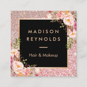 Beauty salon business cards zazzle rose gold glitters pink floral beauty salon square business card colourmoves