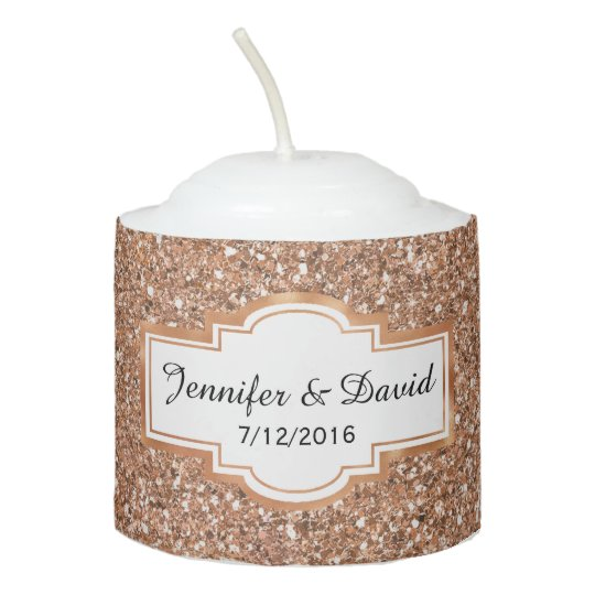 Wedding Gift Candles: Rose Gold Glittery Custom Wedding Candle Favor