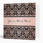 Rose Gold Gradient | Damask Pattern on Black 3 Ring Binder