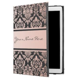 "Rose Gold Gradient   Damask Pattern on Black iPad Pro 12.9"" Case"