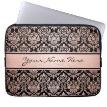 Rose Gold Gradient | Damask Pattern on Black Laptop Sleeve