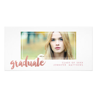 Rose Gold Graduation Announcement Photo Card